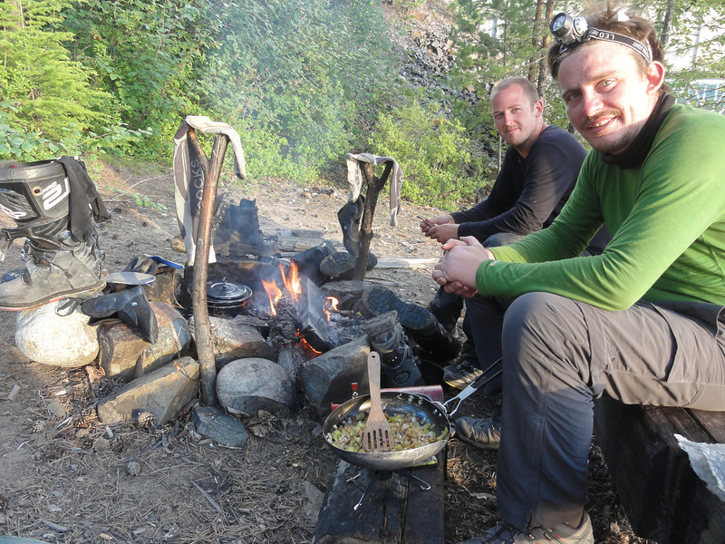 Drying out around the campfire: Vitim River