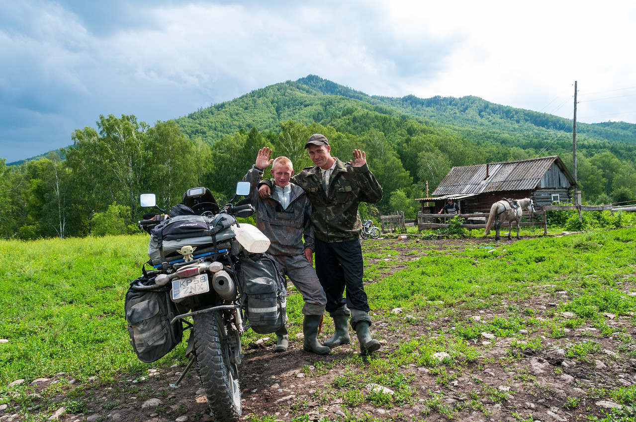 End of the road. Trying to find a new route through the Altai I met these guys at the end of the road