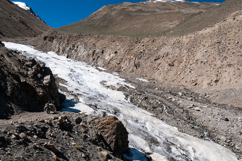 Iceflow blocks the road. Bartang Valley. Tajikistan