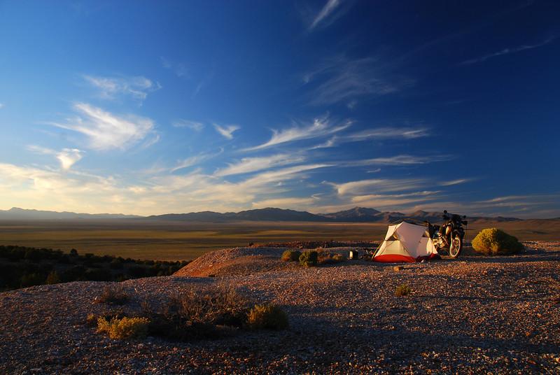 Bush camp on the TAT NW of Eureka,  Nevada