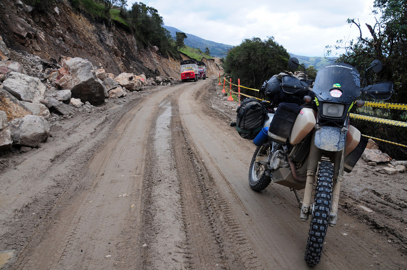 More landslide debris on the Pamplona to Malaga road. Colombia.