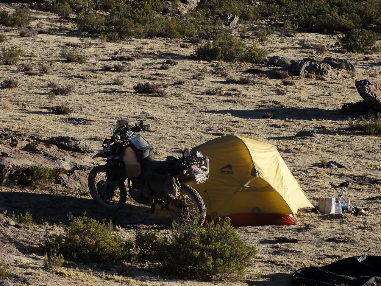 Bush camping SE of Caylloma on the Caylloma - Sibayo road, Peru at 4330m