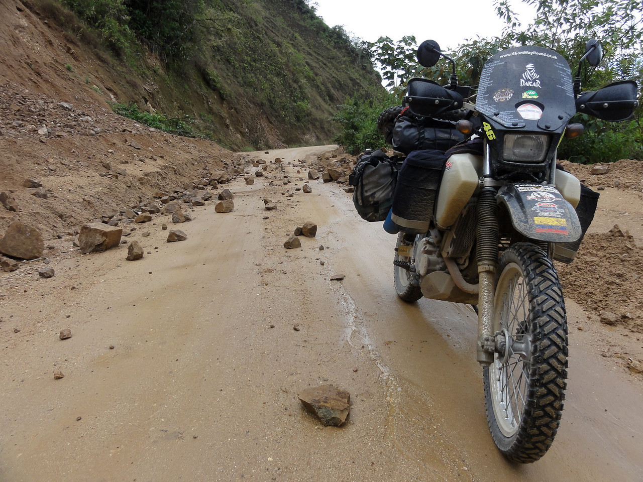 Recent rock slide on the road from Vilcabamba to Zumba, Ecuador