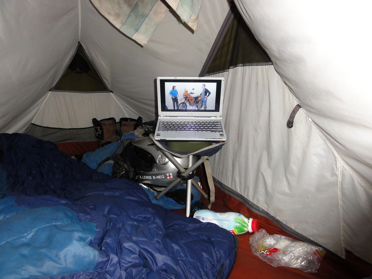 Home Cinema! Camping at Sondor Ruins, near Lago Pacucha,  Peru
