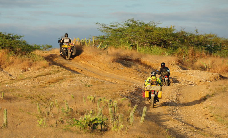 Patrick leads Sharna, leads Josh. En-route to Punta Gallinas, Guajira.  Colombia.
