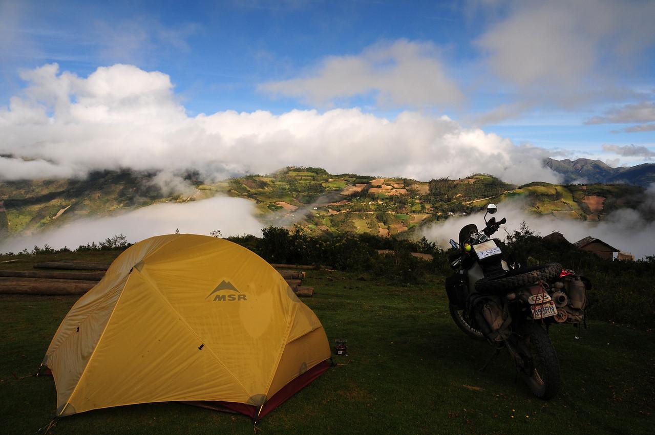 Camping at Kuelap pre-Inca ruins, Peru.