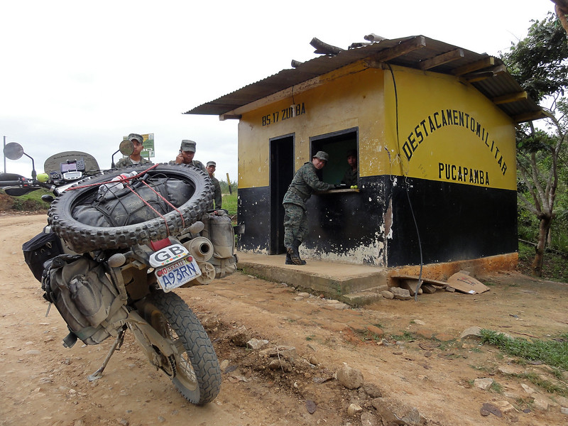 Checkpoint on the road from Zumba (Ecuador) to the Peruvian border