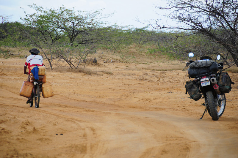 A local goes for gas along the track to Cabo de La Vela.  Colombia.