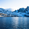 Banner Peak over Garnet Lake in the Ansel Adams wilderness after a fresh snow