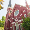 Beautiful old historic red brick church in Fairport, New York