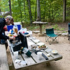 Breakfast: spinach and feta eggs, chicken sausages, oatmeal, and coffee. Camping is hard work, after all, and requires energy!
