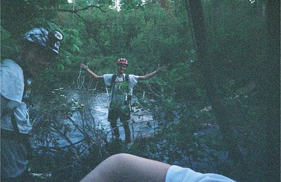 Chris finishes the river balance crossing