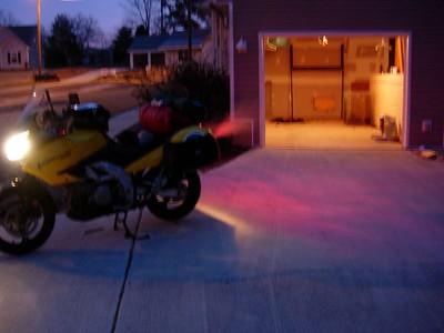 Warming up the 'Strom on Daytona day.