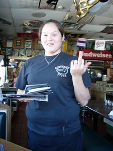The first of many saluting waitresses