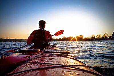 Kayaking on Canandaigua Lake in Upstate New York.