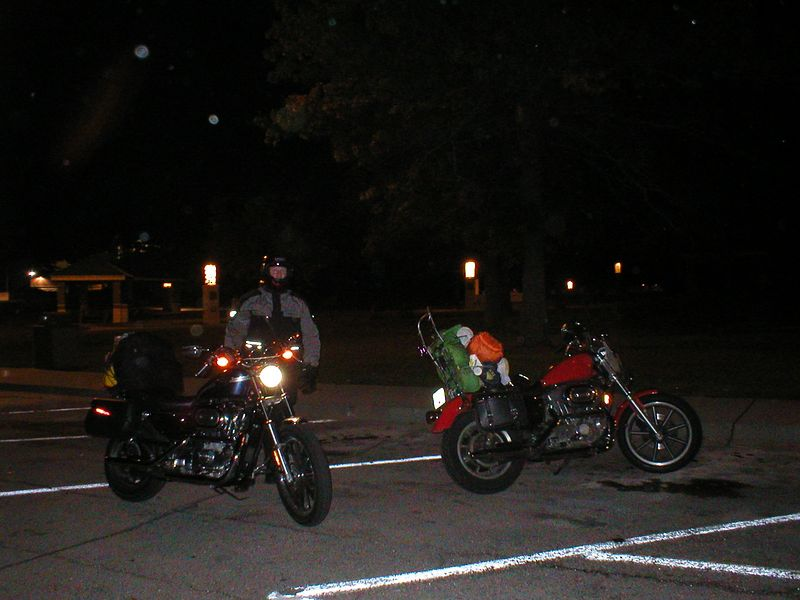 It was warm and clear so we rode into the night. We stopped just south of the Iowa border at this off the freeway camp / RV site.