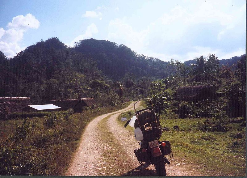 Riding down the main path into Agucate village. South past here is one more village before the Guatemala border, I forget the name but it is larger then Agucate, which is around 40 homes. The next village is a one hour hike through the rainforest, the only way in.