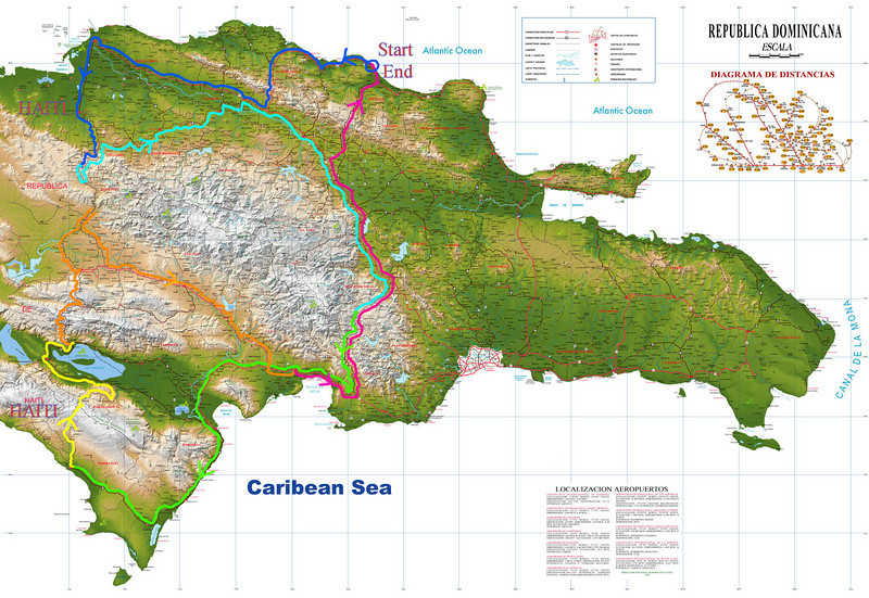 Tom Junkans (cavebiker) - The Border with Haiti - Motorcycle Ride Report -- This is the route map color coded by day<br /> <br /> - The Border with Haiti - Early in the twentieth century, the US military had built a stone road between Haiti and the Dominican Republic in an attempt to better define the border. No maps I've ever seen show the entire route. I read that most of this road or trail is unpaved and rarely used, covered with jagged tire gouging rocks, pockets of mud, and areas washed away from heavy rains. Also, it's rumored that areas along the border are haunted by the wailing ghosts of dead Haitians who had fled there during the colonial era in order to escape slavery. <br /> <br /> This all sounds good to me. I have been living on the island with my wife for the past 5 months, exploring the country by motorcycle. Before my old and abused bike completely falls apart, I need to attempt the Haiti border run. The time is now. I have no excuses.
