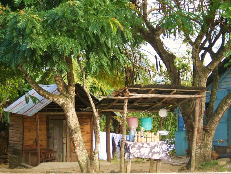 The time is getting late. The border road continues to climb into the mountains passing homes now selling tropical nuts and fruits roadside.