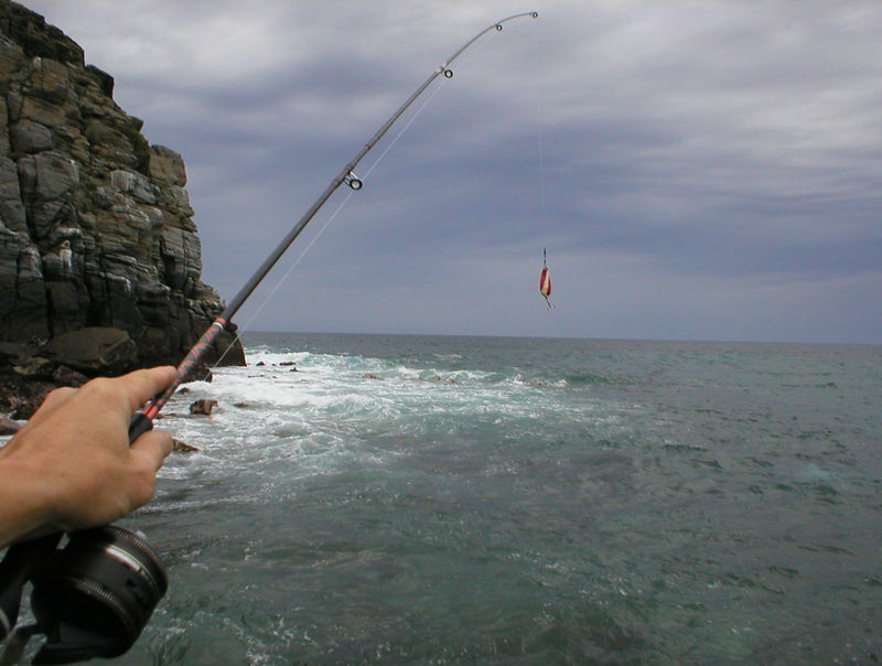 Fishing: OK, I'm fishing out on some rocks at Los Lobos and not having much luck.