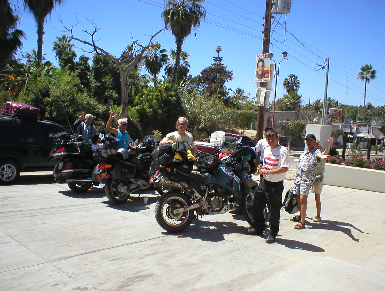 "I look across the street and see a bunch of adventure looking motorcycles pulling in. I go have a chat and ask if they're adventure riders. I get a thumbs up, then I say ""I'm cavebiker'. Wow, we all explode in conversation. The internet can be so great. This is Brad, Tim, Mark, Burt and Lee from NM. Some of them did the Mexico mainland west coast last year. I was getting some great info.