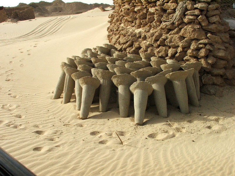 138 - <br /> Day 4 - <br /> Cast salt forms ready for camel transport <br /> (Page 10-Image 3)