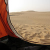 "144 - <br /> Day 4 - <br /> View from my tent on top of the dunes, looking over ""the bathroom,"" dropping away just outside, on the other side of the ridge <br /> (Page 10-Image 9)"