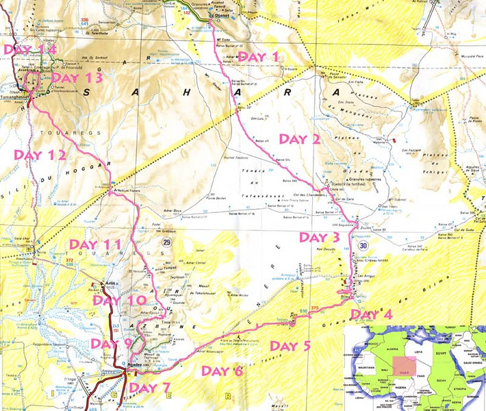 001 - <br /> Trip Map - <br /> 14 days cross-Saharan expedition from Djanet to Tamanrasset Algeria, through Seguedine, Djado, Dirkou, Bilma, Fachi, the Tree of Tenere, Agadez, Timia, & Iferouane Niger; with a final side trip to Assekrem. <br /> (Page 1-Image 1)