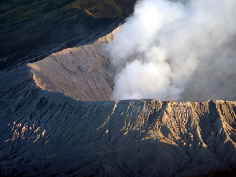 REFERENCE PHOTO<br /> Close up aerial detail view of the rim of Mt Bromo; the final ascent stair can just be seen in the lower right of the photo.