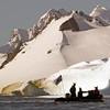 The Lindblad Vikings' drink service plows the waters of the bay at Cuverville Island, mainland Antarctic peninsula