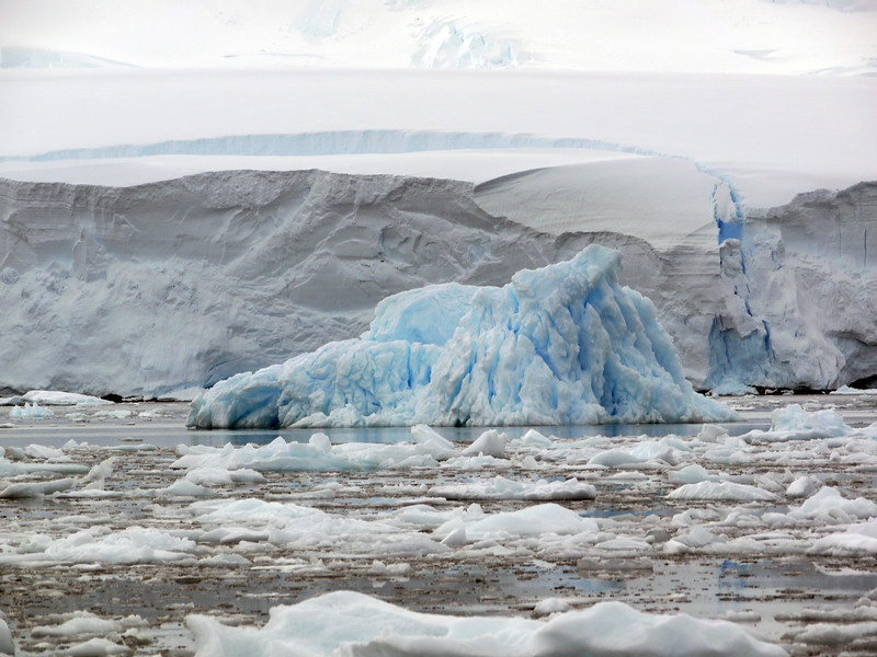 Glaciers and icebergs in the Crystal Sound, Antarctic peninsula