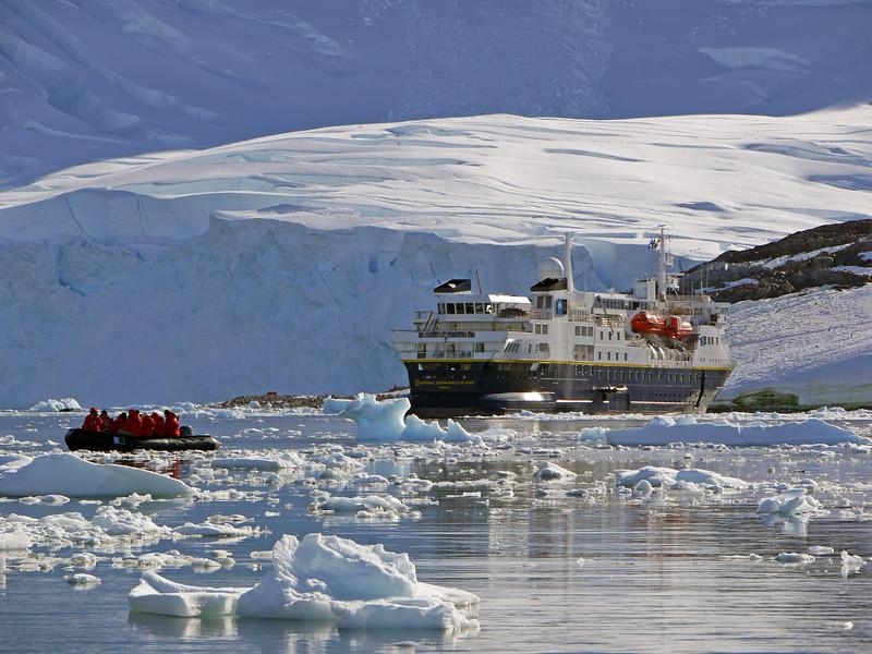 Zodiac cruising among the ice flows in Neko Harbour, Mainland Antarctic Peninsula