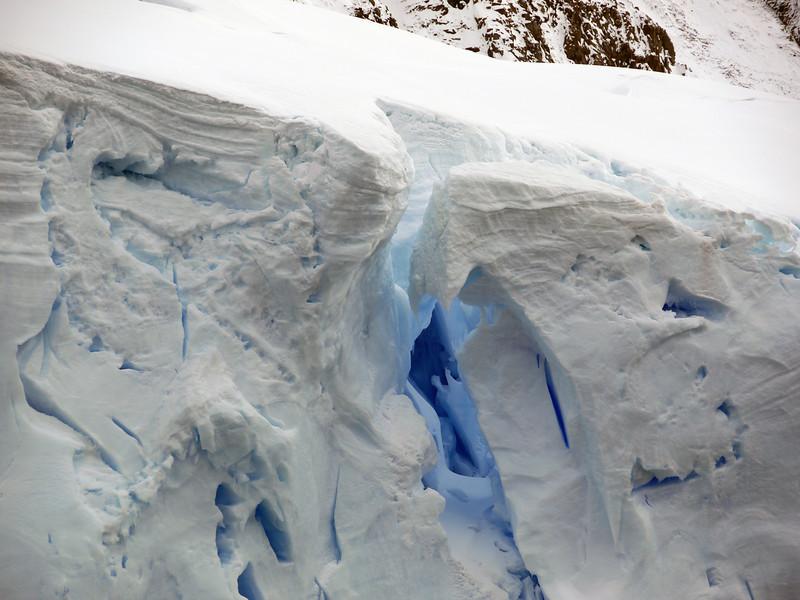 Detail of glacial crevasse in the Crystal Sound, Antarctic peninsula