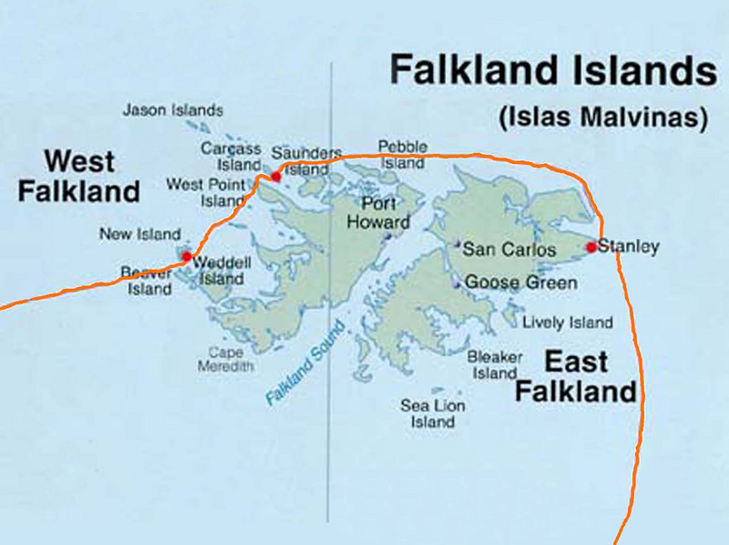 Detailed map of the voyage through the Falkland Islands: Stanley & Environs, Mount Tumbledown, Carcass Island & New Island.