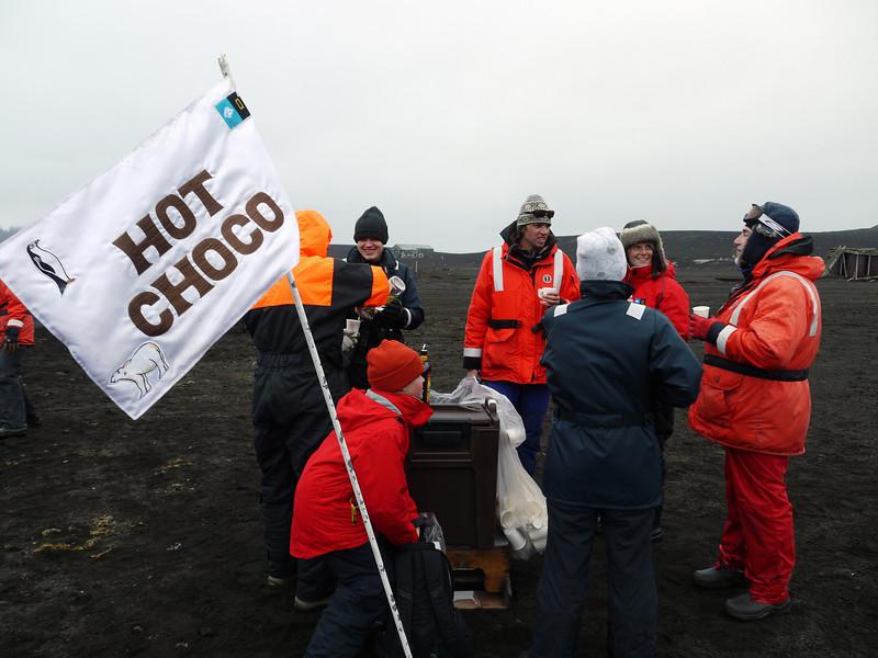 The Lindblad Vikings' drink service on the beach at Deception Island, South Shetland Islands, Antarctica