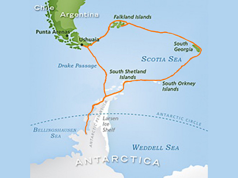Here is a map of the entire voyage; Ushuaia, Argentina to Antarctica, beyond the Antarctic Circle, South Georgia British Sub-Antarctic territory, The Falkland Islands and return to Ushuaia.<br /> <br /> A three week, 4,600 mile epic journey on the National Geographic Explorer expeditionary vessel from February through March 2011 to Antarctica; featuring the South Shetland Islands, Antarctic Peninsula, and travel well south of the Antarctic Circle.  <br /> <br /> Visits and landings to 11 key areas of interest along the Antarctic mainland and coastal islands.  <br /> <br /> Subsequent travel to and through 17 visits and landings in South Georgia, (UK Sub-Antarctic Territory), and the Falkland Islands.  <br /> <br /> Starting and ending in Ushuaia, Tierra del Fuego Patagonia, Argentina.