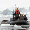 The Lindblad Vikings' drink service plows the waters of the Crystal Cove, Antarctic peninsula