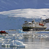 Zodiac cruising among the ice flows in Neko Harbour, Mainland Antarctic Peninsula