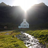 Light shines eternal above the Luthern chruch in Grytviken, South Georgia