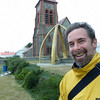 Flip at the whalebone arch church in Stanley, Falkland Islands