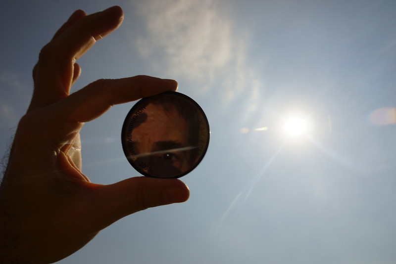 Reflection of my eye in the specially engineered solar optic filter from the 2006 total eclipse in Novosibirsk.