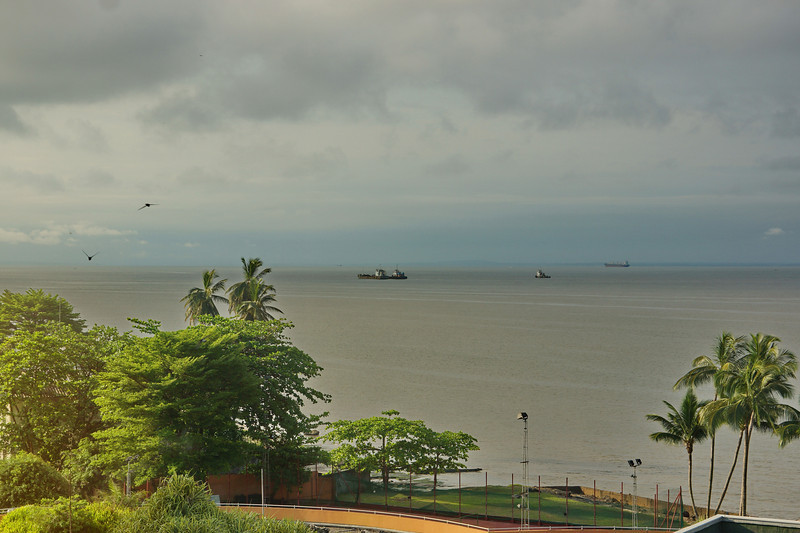 View over the serene equatorial Atlantic ocean in Libreville on the morning of eclipse day.
