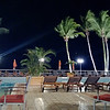 Evening drinks on the pool deck of Le Meridien Re Ndama Libreville, looking out over the euatorial Atlantic ocean.