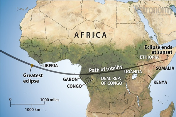 The path of totality for the toal solar eclipse of 3 November 2013 first hits landfall in Gabon.
