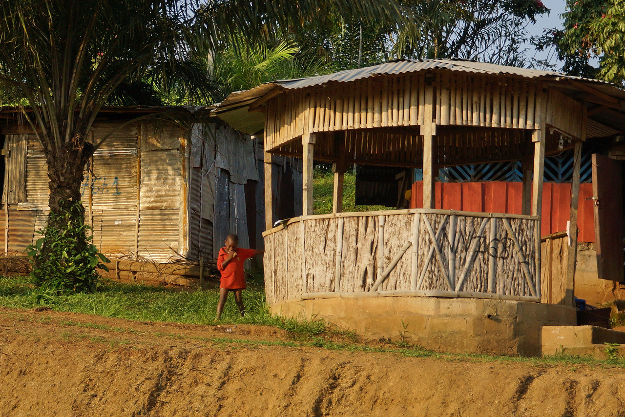 Picturesque hutments along the road in rural Gabon.