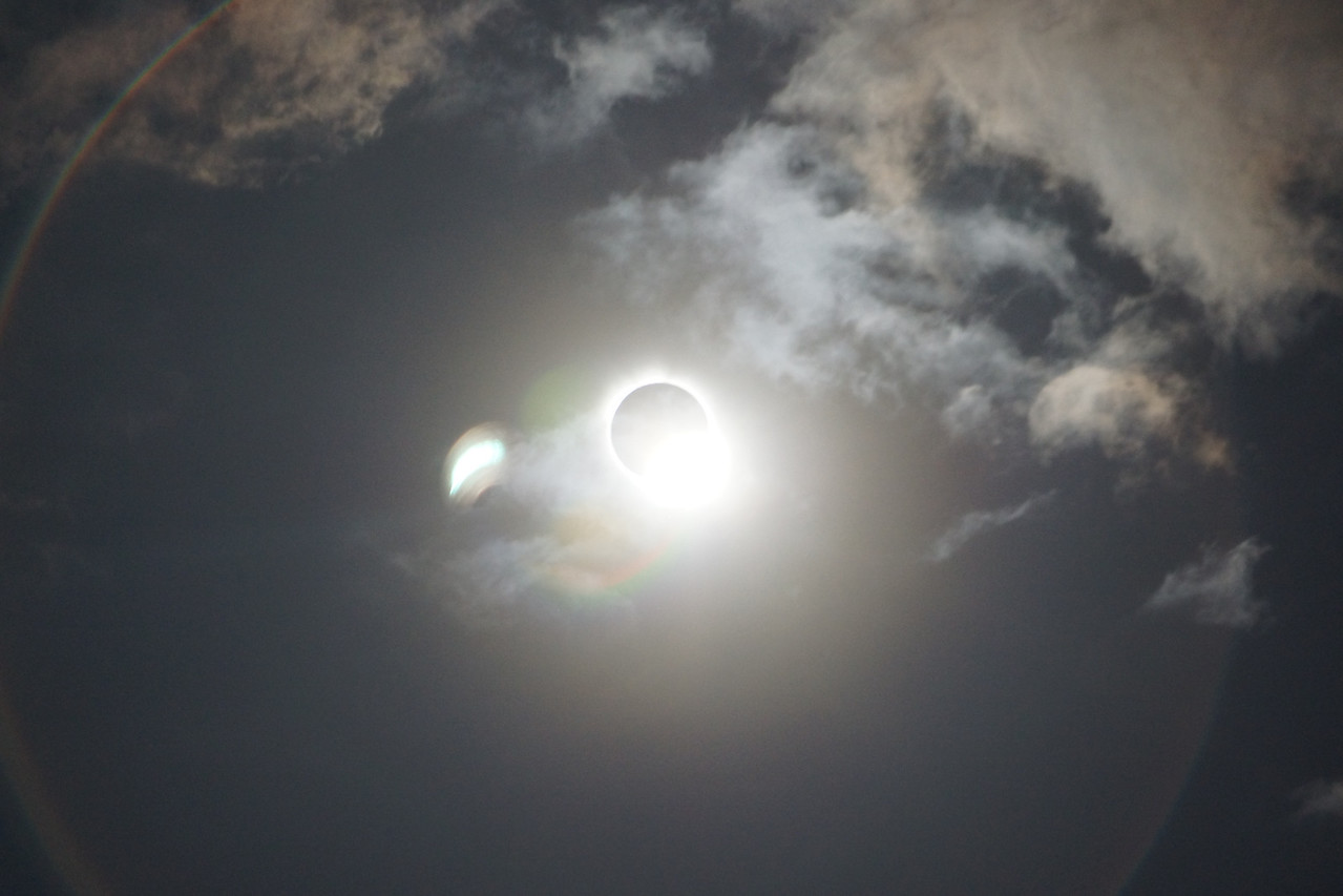 """Just after totality, with the """"diamond ring"""" appearing to the lower right."""
