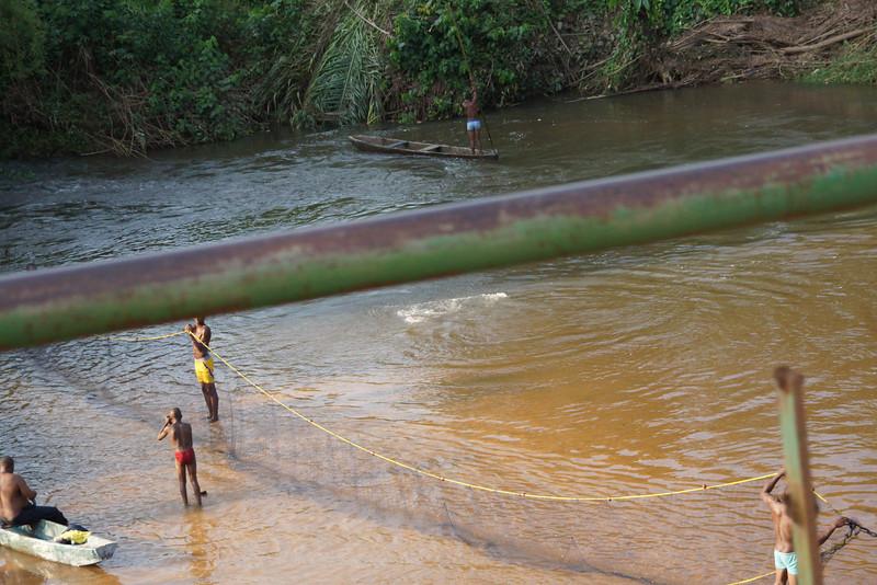 Community river fishing in rural Gabon.
