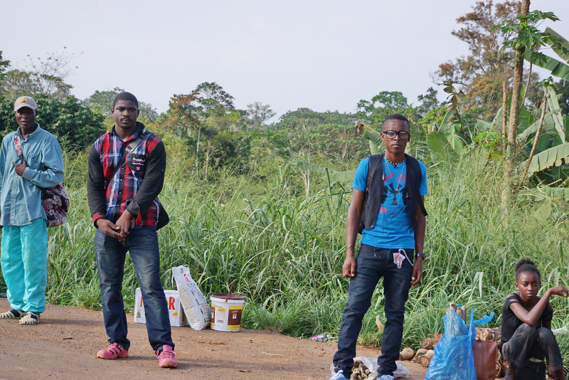 Waiting for the bus in the jungles of Gabon.