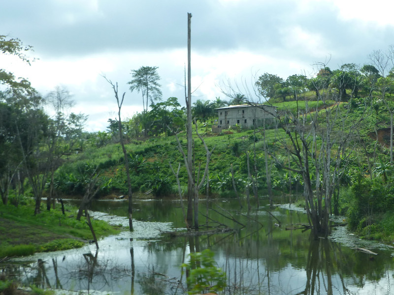 Peaceful riverine scene in rural Gabon.