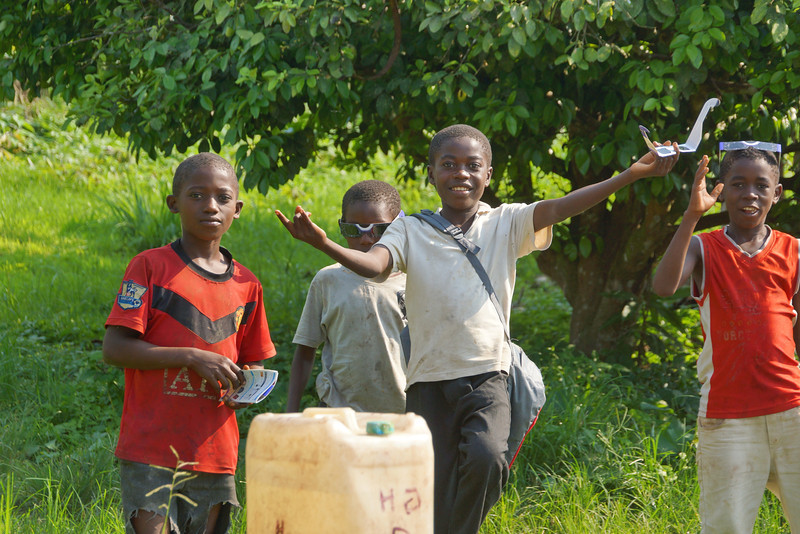"""""""Eclipse kids"""" taking a break from the daily water duty."""